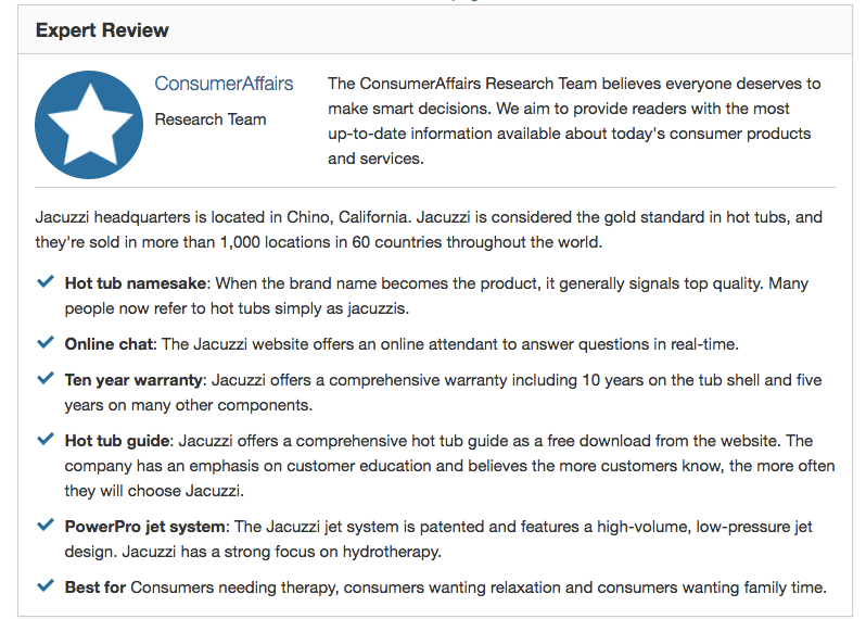 Consumer Complaints and Reviews about Jacuzzi Hot Tub Brand